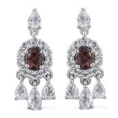 Change Color Garnet, White Topaz Platinum Over Sterling Silver Dangle Earrings TGW 3.740 Cts.