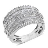 Diamond Platinum Over Sterling Silver Concave Ring (Size 7.0) TDiaWt 1.50 cts, TGW 1.50 cts.