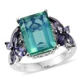 Peacock Quartz, Catalina Iolite Platinum Over Sterling Silver Ring (Size 9.0) TGW 10.42 cts.