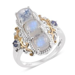 Sri Lankan Rainbow Moonstone, Tanzanite 14K YG and Platinum Over Sterling Silver Openwork Ring (Size 6.0) TGW 6.50 cts.