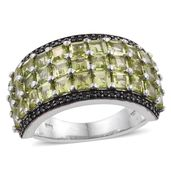 Arizona Peridot, Thai Black Spinel Platinum Over Sterling Silver Ring (Size 9.0) TGW 6.25 cts.