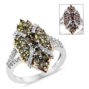 Bekily Color Change Garnet, Cambodian Zircon 14K YG and Platinum Over Sterling Silver Split Ring (Size 5.0) Total Gem Stone Weight 2.540 Carat