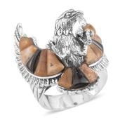 Santa Fe Style South African Tigers Eye, Picture Jasper, Black Onyx Sterling Silver Men's Eagle Ring (Size 11.0) TGW 22.500 cts.