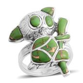 Santa Fe Style Mojave Green Turquoise Sterling Silver Climbing Koala Ring (Size 6.0) TGW 6.120 cts.