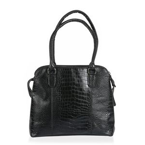 Designer Inspired Large Black Genuine Leather RFID Croco Embossed Shoulder Bag (13.5X5.5X11 in)