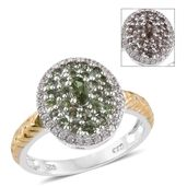 Color Change Garnet, Cambodian Zircon 14K YG and Platinum Over Sterling Silver Ring (Size 9.0) TGW 1.58 cts.