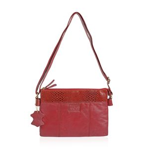 Red Genuine Leather RFID Sling Bag (11.5X1.5X8 in)