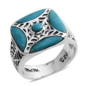 Santa Fe Style Arizona Sleeping Beauty Turquoise Sterling Silver Engraved Web Signet Ring (Size 7.0) TGW 4.150 cts.