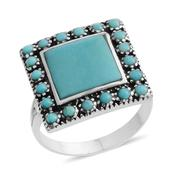Santa Fe Style Mojave Blue Turquoise Sterling Silver Split Ring (Size 7.0) TGW 2.050 cts.