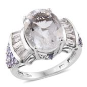 Petalite, Tanzanite, White Topaz Platinum Over Sterling Silver Ring (Size 8.0) TGW 11.19 cts.