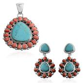 Santa Fe Style Blue Turquoise, Spiny Oyster Shell Red Sterling Silver Earrings and Pendant without Chain TGW 11.802 Cts.
