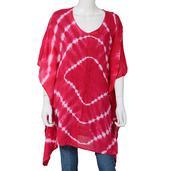 Pink 100% Rayon Tie-Dye Round Neck Beach Kimono  (33 in)