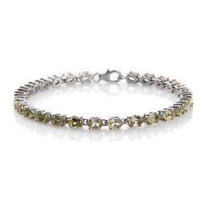 Madagascar Yellow Apatite Platinum Over Sterling Silver Tennis Bracelet (6.50 In) TGW 6.50 cts.