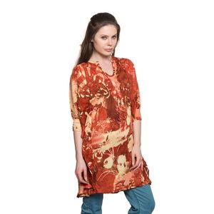 Coral Bishop Sleeve 100% Viscose Rayon Smoked Detail Printed Top (Free Size)