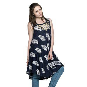 Navy Blue 100% Viscose Leaf Print Tunic/Dress with Embroidered Scoop Neckline (One Size)