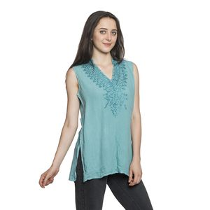 Teal Embroidered 100% Viscose Crepe Sleeveless Top (L/XL) (W:20in, L:28.5in)