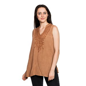 Brown Embroidered 100% Viscose Crepe Sleeveless Top (S/M) (W:18.5in, L:28in)