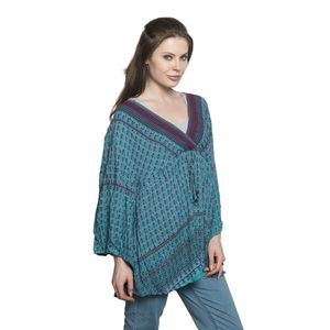 Teal 100% Viscose Printed Notched Neck Blouse with Drawstring and Empire Seam Detail (Free Size)