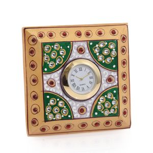 Handcrafted Marble Square Clock with Black Stand