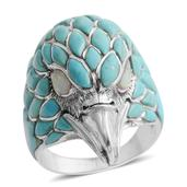 Santa Fe Style Kingman Turquoise, Lab Created Opal Sterling Silver Men's Eagle Ring (Size 11.0) TGW 2.501 cts.