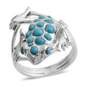 Santa Fe Style Arizona Sleeping Beauty Turquoise Sterling Silver Frog Ring (Size 10.0) TGW 2.350 cts.