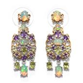 Karen's Fabulous Finds Ethiopian Welo Opal, Amethyst, Hebei Peridot 14K YG and Platinum Over Sterling Silver Chandelier Earrings TGW 4.160 Cts.