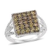 Bekily Color Change Garnet, Cambodian Zircon Platinum Over Sterling Silver Cluster Ring (Size 9.0) TGW 2.71 cts.