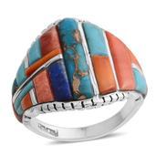 Santa Fe Style Lapis Lazuli, Multi Gemstone Sterling Silver Men's Ring (Size 12.0) TGW 11.801 cts.