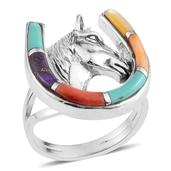 Santa Fe Style Multi Gemstone Sterling Silver Horse Head and Shoe Split Ring (Size 7.0) TGW 0.75 cts.