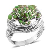 Santa Fe Style Mojave Green Turquoise Sterling Silver Ring (Size 9.0) TGW 3.870 cts.