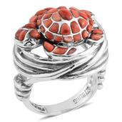 Santa Fe Style Spiny Oyster Shell Red Sterling Silver Ring (Size 7.0) TGW 0.001 cts.