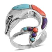 Santa Fe Style Kingman Turquoise, Purple Turquoise, Spiny Oyster Shell Red Sterling Silver Ring (Size 8.0) TGW 1.251 cts.