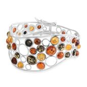 Baltic Multi Color Amber Sterling Silver Bangle (7 in)