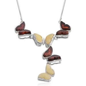 Butterscotch Amber, Baltic Amber Sterling Silver Butterfly Necklace (17 in)