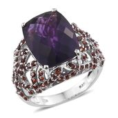 Karen's Fabulous Finds Amethyst, Mozambique Garnet Platinum Over Sterling Silver Ring (Size 6.0) TGW 12.45 cts.