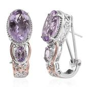 Rose De France Amethyst 14K RG and Platinum Over Sterling Silver Omega Clip Earrings TGW 12.08 cts.