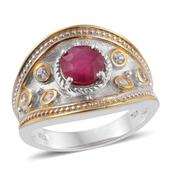 Karen's Fabulous Finds Niassa Ruby, White Zircon 14K YG and Platinum Over Sterling Silver Ring (Size 8.0) TGW 1.950 cts.