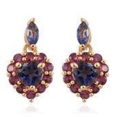 Catalina Iolite, Orissa Rhodolite Garnet 14K YG Over Sterling Silver Heart Drop Earrings TGW 2.23 cts.