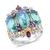 Peacock Quartz, Multi Gemstone 14K YG and Platinum Over Sterling Silver Openwork Ring (Size 10.0) TGW 15.410 cts.