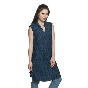 Screen Printed 100% Polyester Blue V-Neck Sleeveless Collar Tunic with Matching Fashion Accessory Band (One Size Fits All)
