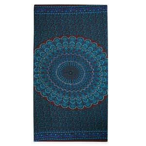 Peacock Blue and Brown 100% Rayon Mandala Printed Sarong (70x47 in)