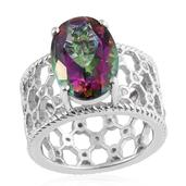Northern Lights Mystic Topaz, Cambodian Zircon Platinum Over Sterling Silver Openwork Ring (Size 8.0) TGW 6.78 cts.