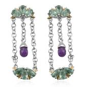 Amethyst, Green Kyanite 14K YG and Platinum Over Sterling Silver Dangle Earrings TGW 5.06 cts.