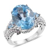 Marambaia Topaz, Cambodian Zircon Platinum Over Sterling Silver Ring (Size 7.0) TGW 17.00 cts.