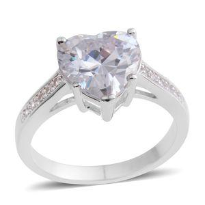 Simulated Diamond Silvertone Heart Ring (Size 7.0) TGW 5.03 cts.
