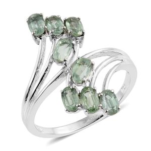 Green Kyanite Platinum Over Sterling Silver Elongated Bypass Ring (Size 8.0) TGW 2.44 cts.