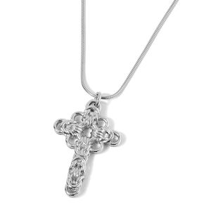 Stainless Steel Cross Pendant With Chain (20 in)