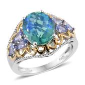 Peacock Quartz, Tanzanite 14K YG and Platinum Over Sterling Silver Ring (Size 10.0) TGW 6.50 cts.