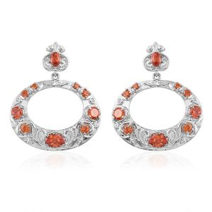 Simulated Orange Sapphire Stainless Steel Earrings TGW 5.85 cts.