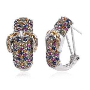 Multi Sapphire 14K YG and Platinum Over Sterling Silver Omega Clip Earrings TGW 5.040 Cts.